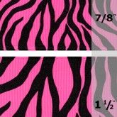 338-606 Shocking Pink Neon Zebra Grosgrain