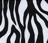 341-613 Black Zebra Fest Grosgrain Ribbon