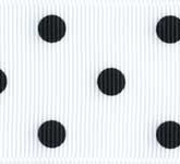 3908-029 Wholesale White/Black Dots Grosgrain Dots Grosgrain Ribbon