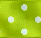 3908-550 Wholesale Apple Green/White Dots Grosgrain Dots Grosgrain Ribbon