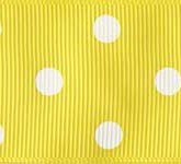 3908-640 Wholesale Lemon/White Dots Grosgrain Dots Grosgrain Ribbon