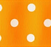 3908-668 Wholesale Tangerine/White Dots Grosgrain Dots Grosgrain Ribbon