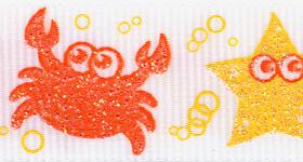 7521-605 Marine Life Sparkle Grosgrain Ribbon