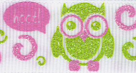 7522-027 Glitter Hoot! Owls Grosgrain Ribbon