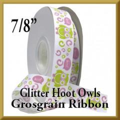 7522 Glitter Hoot Owls Grosgrain Product Image