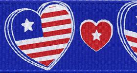 7536-914 Patriotic Hearts Grosgrain Ribbon