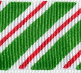806-607 Emerald Candy Cane Stripes Grosgrain Ribbon