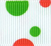 808-907 Red/Green Spots and Dots Grosgrain Ribbon
