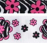 973-613 Zebra Flower Grosgrain Ribbon