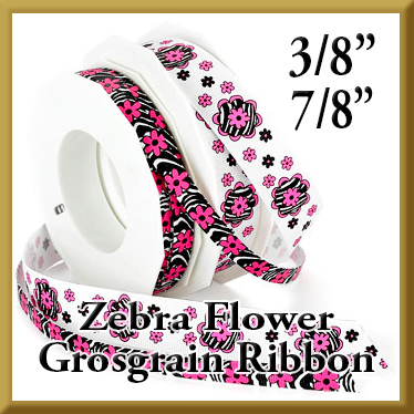 973 Zebra Flower Grosgrain Ribbon Product Image