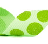 988-027 Seafoam/Lime Sugar Dots Grosgrain Ribbon