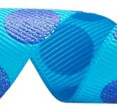 988-340 Turquoise/Electric Blue Sugar Dots Grosgrain Ribbon
