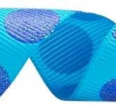 988-340 Turquoise/Electric Blue Sugar Dots Grosgrain Ribbon