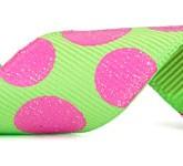 988-502 Lime/Hot Pink Sugar Dots Glitter Grosgrain Ribbon