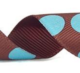 988-523 Brown/Aqua Sugar Dots Glitter Grosgrain Ribbon