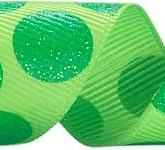 988-530 Lime/Green Sugar Dots Glitter Grosgrain Ribbon