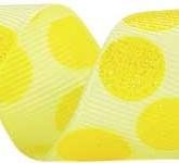 988-534 Yellow/Daffodil Sugar Dots Glitter Grosgrain Ribbon