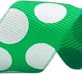 988-607 Green/White Sugar Dots Glitter Grosgrain Ribbon