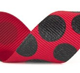988-609 Red/Black Sugar Dots Glitter Grosgrain Ribbon