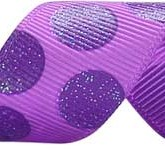 988-611 Grape/Purple Sugar Dots Glitter Grosgrain Ribbon