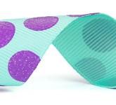 988-612 Aqua/Lavender Sugar Dots Glitter Grosgrain Ribbon