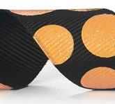 988-613 Black/Melon Sugar Dots Glitter Grosgrain Ribbon
