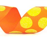 988-620 Orange/Yellow Sugar Dots Glitter Grosgrain Ribbon