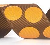 988-623 Brown/Gold Sugar Dots Glitter Grosgrain Ribbon