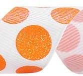 988-629 White/Tangerine Sugar Dots Glitter Grosgrain Ribbon