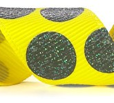 988-645 Daffodil/Black Sugar Dots Glitter Grosgrain Ribbon