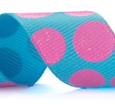 988-712 Turquoise/Pink Sugar Dots Glitter Grosgrain Ribbon