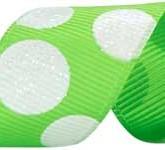 988-714 Lime/White Sugar Dots Glitter Grosgrain Ribbon