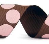 988-850 Brown/Pink Sugar Dots Glitter Grosgrain Ribbon
