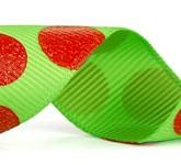 988-927 Lime/Red Sugar Dots Glitter Grosgrain Ribbon
