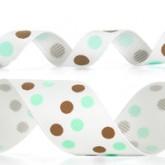 989-324 Mineral Ice/Turftan Dazzle Dots Glitter Grosgrain Ribbon
