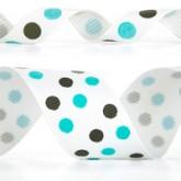 989-340 Turquoise/Black Dazzle Dots Glitter Grosgrain Ribbon