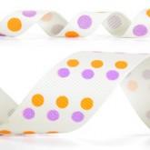 989-668 Tangerine/Lt. Orchid Dazzle Dots Glitter Grosgrain Ribbon