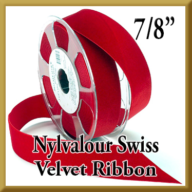 012 Wholesale 7 8 Nylvalour Swiss Velvet Ribbon Product Image