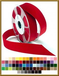 012 Wholesale Nylvalour Swiss Velvet Ribbon Product Image With Color Swatches