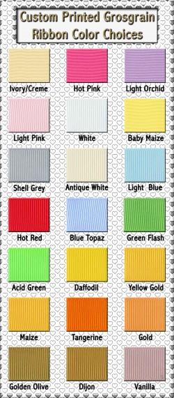 Custom Printed Grosgrain Ribbon Color Choices