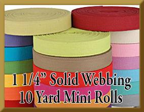 10 Yard 1 1/4 Inch Mini Rolls Solid Webbing Product Image