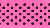 Hot Pink/Black Dots 617 Wholesale Swiss Dots Grosgrain Ribbon