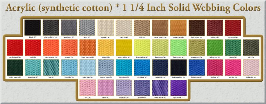 Acrylic Webbing Color Chart 1 1/4 Inch