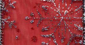7405-919 Red/Silver Glittered Snowflakes Wired Ribbon