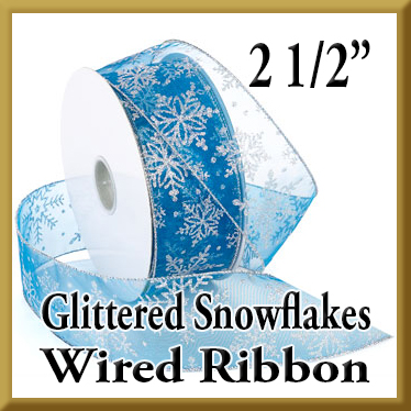 7405 Glittered Snowflakes Wired Ribbon Product Image
