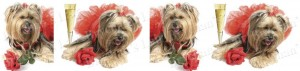 Yorkshire Terrier Champagne & Roses Dog Breed Ribbon Design