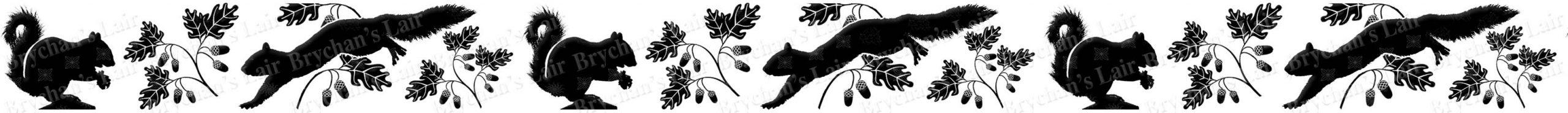 Squirrel Silhouette With Acorns Custom Printed Grosgrain Ribbon